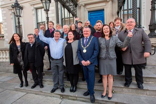 Natrium director Deirdre Foley, second from right, with Ethel Buckley of Siptu, centre front, Mayor Brendan Carr and some of the former Clerys staff at the announcement. Photo: Tony Gavi