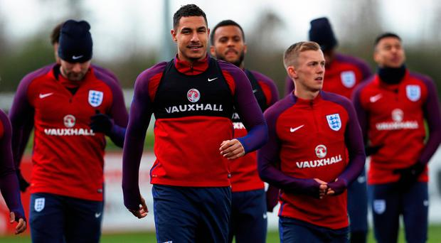 Jake Livermore trains alongside his England teammates. Photo: REUTERS
