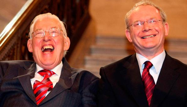 'So many of the symbolic gestures of the post-Good Friday Agreement involved Mr McGuinness. His 'Chuckle Brothers' double act with the late Ian Paisley showed how such diverse individuals from diametrically opposing backgrounds and outlook could work together in the interests of the people.' Photo: PA
