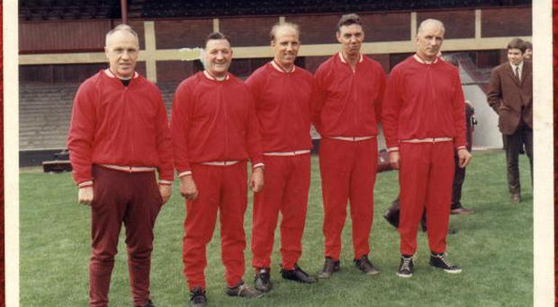 LIVERPOOL, ENGLAND - UNDATED: (THE SUN OUT) Ronnie Moran (second from left) was a member of Liverpool's legendary 'Boot Room' coaching staff. (Photo by Liverpool FC via Getty Images)