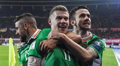 James McClean celebrates scoring Ireland's winner in Vienna