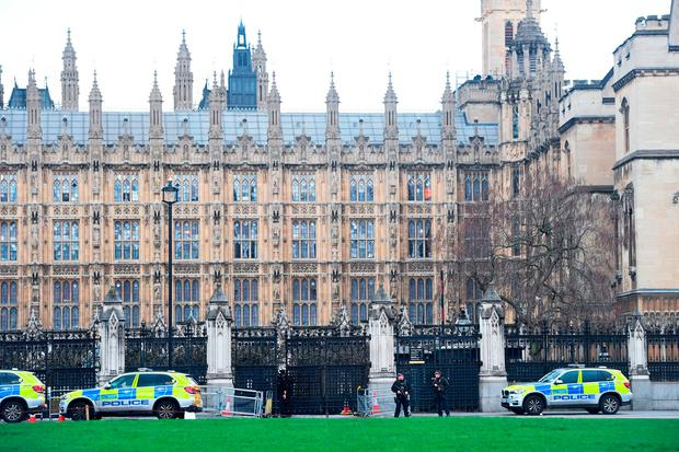 Police outside the Palace of Westminster, London, after sounds similar to gunfire have been heard close to the Palace of Westminster.