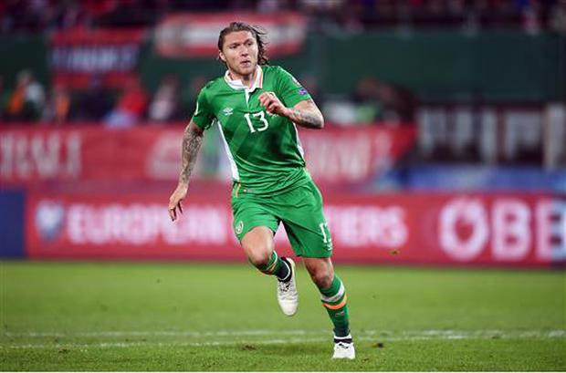 12 November 2016; Jeff Hendrick of Republic of Ireland during the FIFA World Cup Group D Qualifier match between Austria and Republic of Ireland at the Ernst Happel Stadium in Vienna, Austria. Photo by Stephen McCarthy/Sportsfile