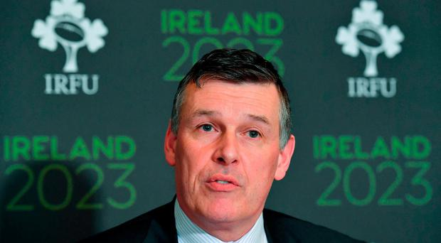Chief Executive of the IRFU Philip Browne in attendance at an Ireland 2023 Rugby World Cup Media Conference at the Merrion Hotel in Dublin following a two day visit by the World Rugby Technical Review Group visit as part of Ireand's bid to host the 2023 Rugby World Cup. Photo by Brendan Moran/Sportsfile