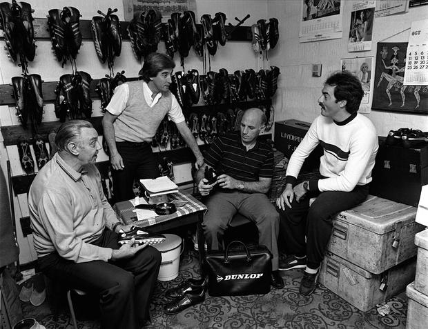 With Evans, Joe Fagan and Bruce Grobbelaar in the boot-room in 1982. Photo: Bob Thomas/Getty Images