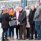 Family and friends of Bobby Ryan watch as Pat Quirke(49) from Bansha, Co Tipperary, arrives at Tipperary District Court to face a charge of murder. Photos: Liam Burke/Press 22