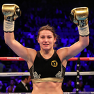 Katie Taylor celebrates after winning her super-featherweight bout against Monica Gentili at the O2 Arena in London earlier this month. Photo: Lawrence Lustig/Sportsfile