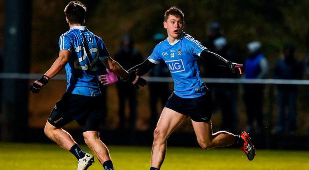 Con O'Callaghan, right, of Dublin celebrates with Chris Sallier after scoring his side's first goal during the EirGrid Leinster GAA Football U21 Championship Semi-Final match between Longford and Dublin at Lakepoint Park in Mullingar, Co Westmeath. Photo by David Maher/Sportsfile