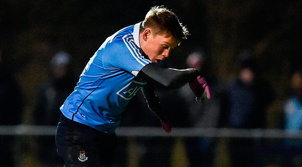 An All-Ireland club hurling winner with Cuala last Friday, Con O'Callaghan pounces to rifle home the second of his two goals for Dublin in last night's eirgrid Leinster U-21 football semi-final in Mullingar. Photo: Sportsfile