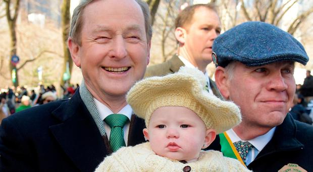 Taoiseach Enda Kenny with 7 month old Savanah Marie who was at the St. Patricks Day parade with her grandfather Mark Cassels in New York. Photo: Gerry Mooney