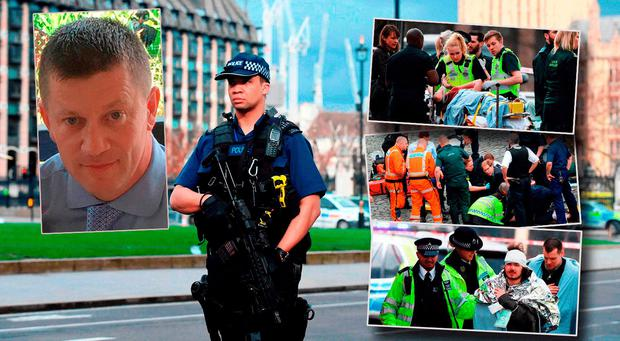 Scenes following the London attack (main and insets right) and Keith Palmer (inset left)