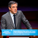 François Fillon gives a speech during a meeting with members of the Association of Mayors of France in Paris. Photo: Charles Platiau/Reuters