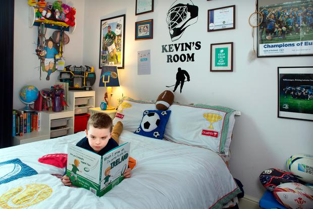 Kevin's sporting themed bedroom. Photo: Tony Gavin