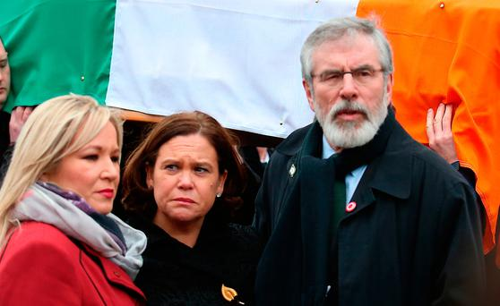 Sinn Fein's Michelle O'Neill (left) Mary Lou McDonald (middle) and Gerry Adams (right) during the funeral procession of Northern Ireland's former deputy first minister and ex-IRA commander Martin McGuinness. Photo: Thomas McMullan/PA Wire