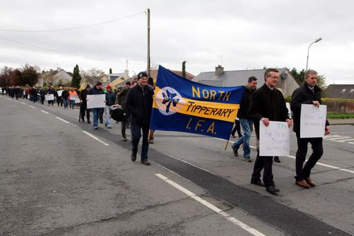 Farmers at today's protest in Tipperary