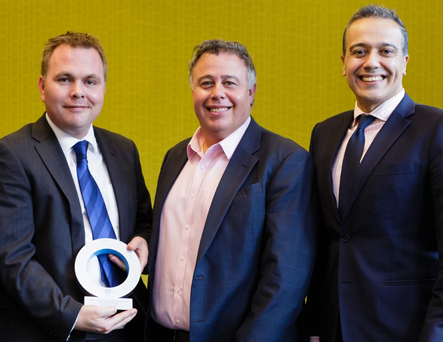 Pictured at the announcement that Datapac has been awarded HP Inc. Partner of the Year for UK and Ireland are (L-R) Patrick Kickham, Director, Datapac; Dion Weisler, President & Chief Executive Officer, HP Inc. and Nick Lazaridis, President EMEA, HP Inc.
