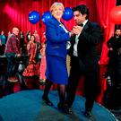 Arts Minister Heather Humphreys dances with Julian Brigatti of Tango Fiesta at the launch event for Cruinniú na Cásca at the RTÉ studios in Dublin. Photo: Sportsfile