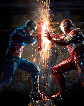 Shields up: Captain America and Iron Man settle their differences with a little hand-to-hand combat