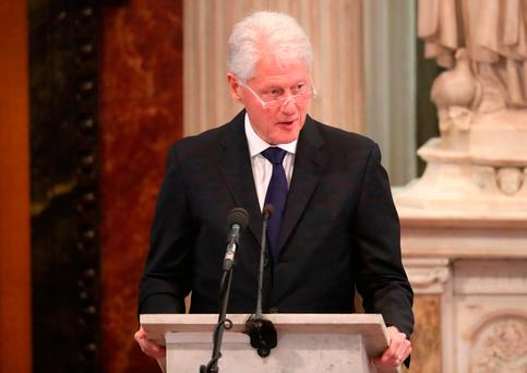 Former US President Bill Clinton speaks during the funeral of Northern Ireland's former Deputy First Minister Martin McGuinness at St Columba's Church Long Tower, Derry. Photo: GETTY