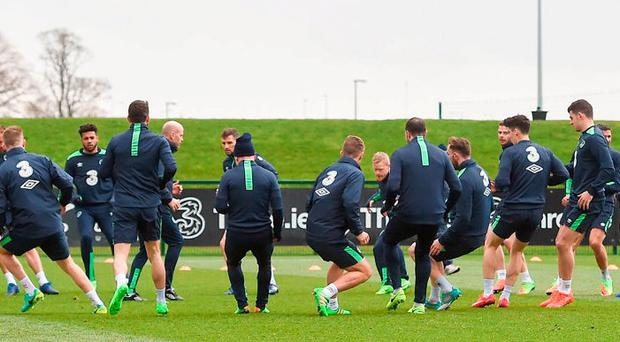 Ireland players are put through their paces yesterday. Photo: Matt Browne/Sportsfile