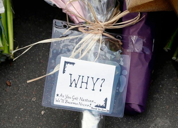 A floral tribute laid on Westminster Bridge yesterday. Photo: REUTERS/Stefan Wermuth