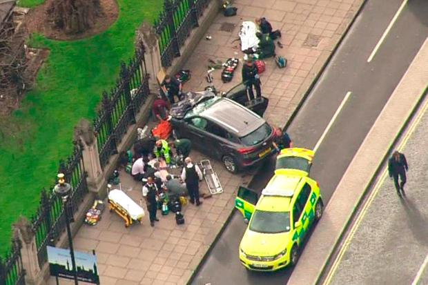 The scene after the attacker's car came to a standstill