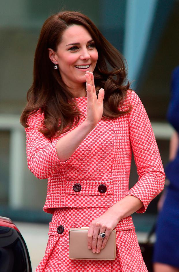 The Duchess of Cambridge leaves after launching the maternal mental health films at the Royal College of Obstetricians and Gynecologists in London.
