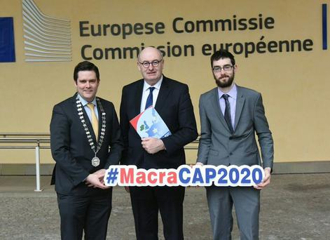 Sean Finan Macra na Feirme President, Phil Hogan EU Commissioner for Agriculture and Rural Development, Thomas Duffy Vice Chair of the Macra na Feirme Agriculture Affairs Committee
