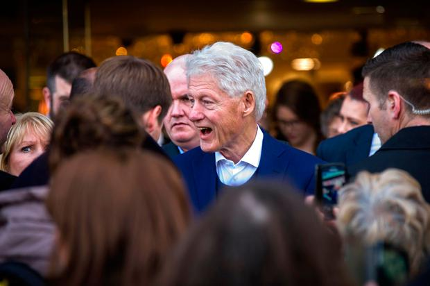 Former US President Bill Clinton visiting the Kilkenny Design Shop today on Dublin's Nassau St (Photo: Doug O'Connor)