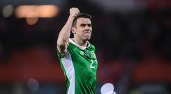 Vienna , Austria - 12 November 2016; Seamus Coleman of Republic of Ireland celebrates following the FIFA World Cup Group D Qualifier match between Austria and Republic of Ireland at the Ernst Happel Stadium in Vienna, Austria. (Photo By Stephen McCarthy/Sportsfile via Getty Images)