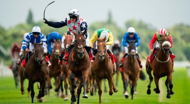 Heartbreak City, pictured here winning last year's Ebor at York under Adam McNamara, will carry high hopes into the Dubai Gold Cup today. Photo: Edward Whitaker