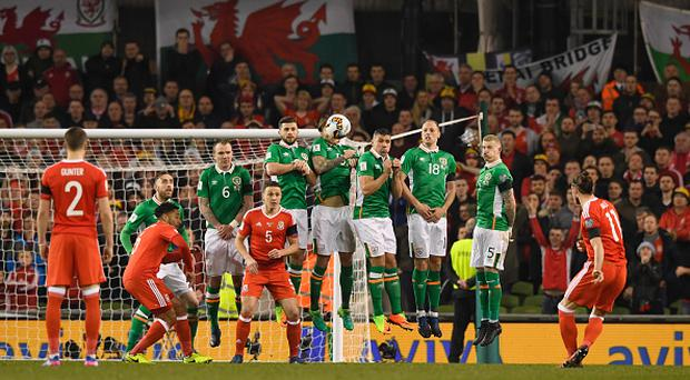 DUBLIN, IRELAND - MARCH 24: Gareth Bale of Wales shoots from a free kick during the FIFA 2018 World Cup Qualifier between Republic of Ireland and Wales at Aviva Stadium on March 24, 2017 in Dublin, Ireland. (Photo by Stu Forster/Getty Images)