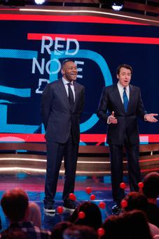 Sir Lenny Henry and Jonathan Ross, who paid tribute to those affected by the attack on Westminster as Red Nose Day's evening of fundraising got under way. Credit: Gary Moyes/BBC/PA Wire