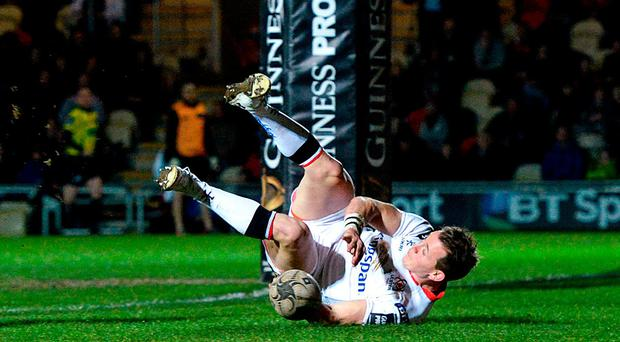 Craig Gilroy of Ulster scores a try during the Guinness PRO12 Round 18 match between Newport Gwent Dragons and Ulster at Rodney Parade in Newport, Wales. Photo by Ben Evans/Sportsfile