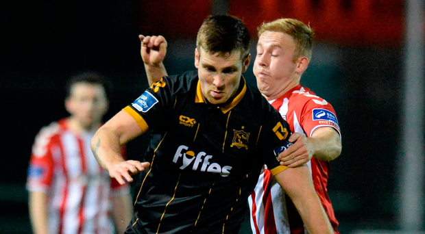 Dundalk's Patrick McEleney in action against Derry City recently. The former Candystripes star has been in fine form this season and will pose a big threat to John Caulfield's Cork side today. Photo: Sportsfile