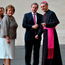 Enda Kenny and his wife Fionnuala are welcomed by the prefect of the papal household Georg Gaenswein as they arrive for an audience with Pope Francis with other European leaders in the Vatican Picture: AFP/Getty