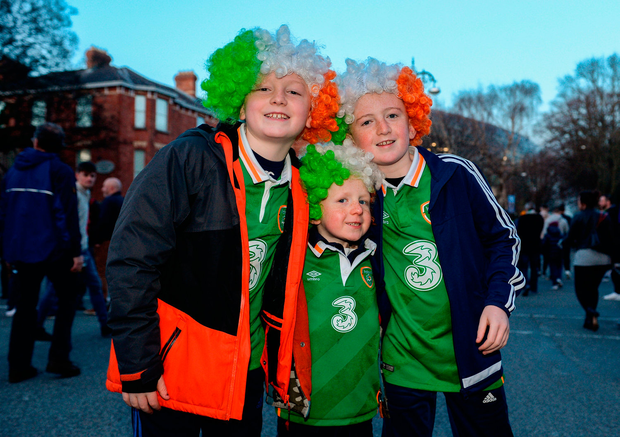 Conal (9), Aidan (6), and Senan Doohan (11), from the Navan Road, Dublin Photo by Seb Daly/Sportsfile
