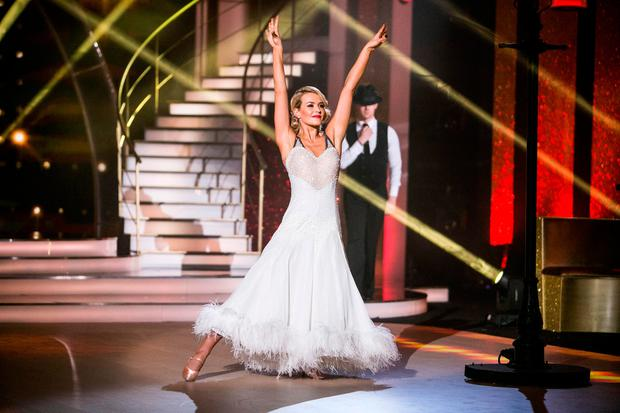 Aoibhin Garrihy with Kai Widdrington dancing a Foxtrot to Big bad handsome man by Imelda May,during the Switch up week in Dancing with the Stars.