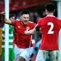 Josh O'Hanlon, left, of St. Patricks Athletic celebrates after scoring his side's second goal against Shamrock Rovers at Richmond Park in Dublin. Photo by Seb Daly/Sportsfile