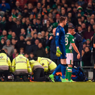 Paramedics attend to Seamus Coleman during the World Cup Qualifier in Dublin. Photo: Sportsfile