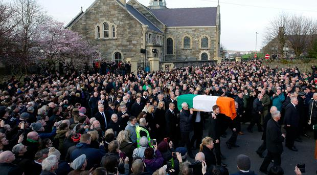 Last Thursday's funeral of Martin McGuinness. Photo: Gerry Mooney