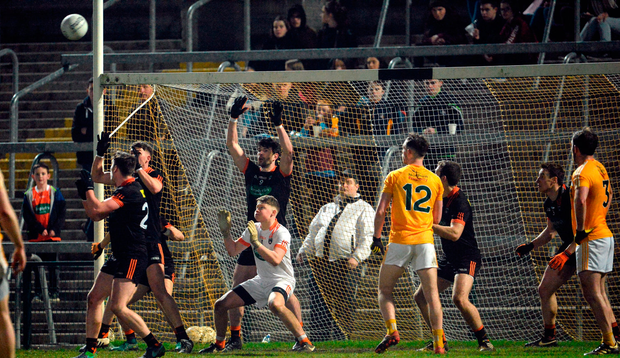 The Armagh defence defend their goal in the dying minutes. Photo: Sportsfile