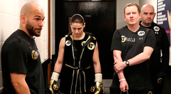 Katie Taylor prior to her Manchester Fight Night super featherweight bout at Manchester Arena in Manchester. Photo by Lawrence Lustig/Sportsfile