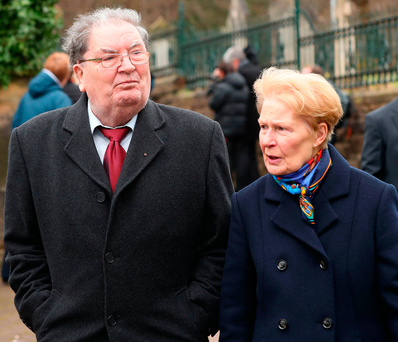 Voice of reason: John Hume and wife Pat arriving at the church in Derry for Martin McGuinness's funeral Photo: Niall Carson/PA Wire