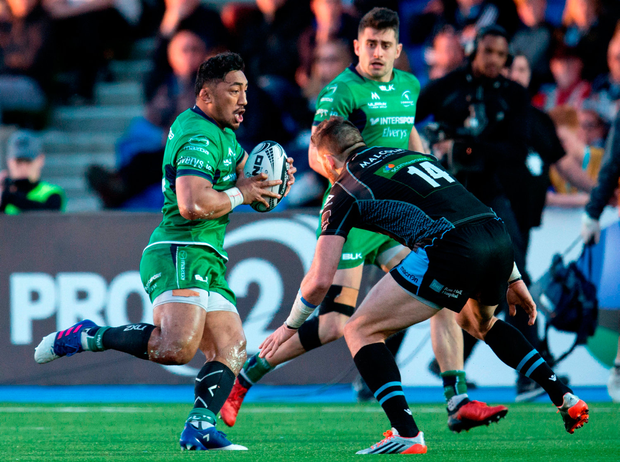 25 March 2017; Bundee Aki of Connacht in action against Sean Lamont of Glasgow Warriors during the Guinness PRO12 Round 18 match between Glasgow Warriors and Connacht at Scotstoun Stadium in Glasgow, Scotland. Photo by Kenny Smith/Sportsfile