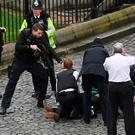 Luck played a part: Extremist Khalid Masood is thought to have been shot by a member of the close protection team of UK defence secretary Michael Fallon, whose car only happened to have been parked in New Palace Yard because a vote was taking place at the time