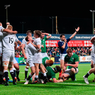 England U20s celebrate after Ireland's last-play drive to score a match-winning try is held up short of the line in Donnybrook. Photo: Matt Browne/Sportsfile
