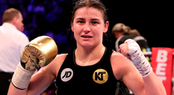 Katie Taylor after victory over Milena Koleva during their Manchester Fight Night super featherweight bout. Photo by Lawrence Lustig/Sportsfile