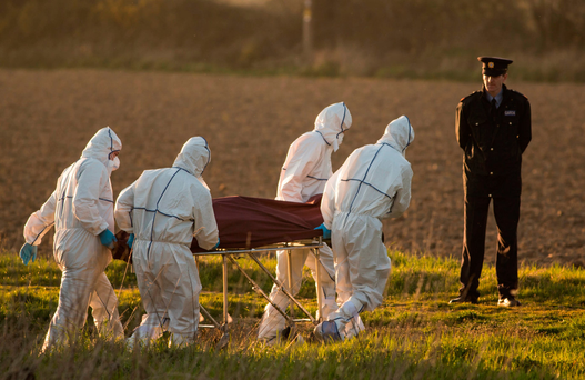Gardai remove the body of Anne Shortall, who was beaten to death with a hammer by Roy Webster Photo: Mark Condren