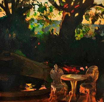 Evening Light in Garden by Jonathan Frisby